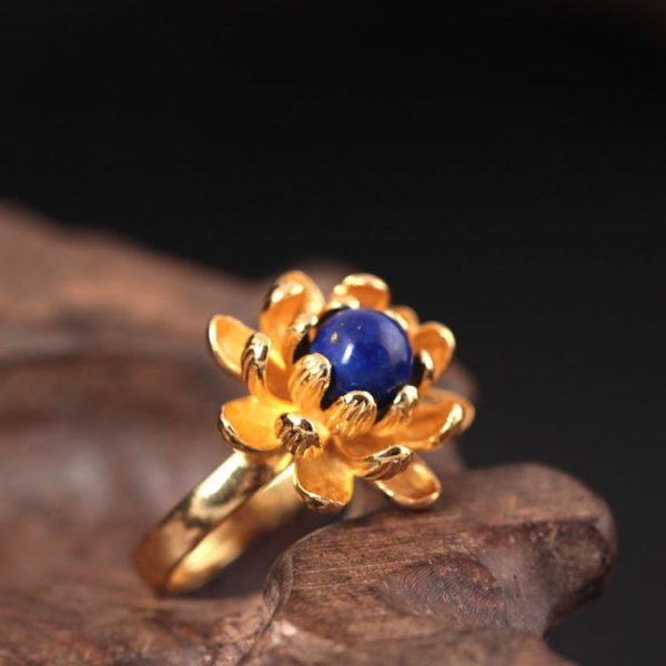 Sterling Silver Lotus Flower Ring - 3 Colors 2