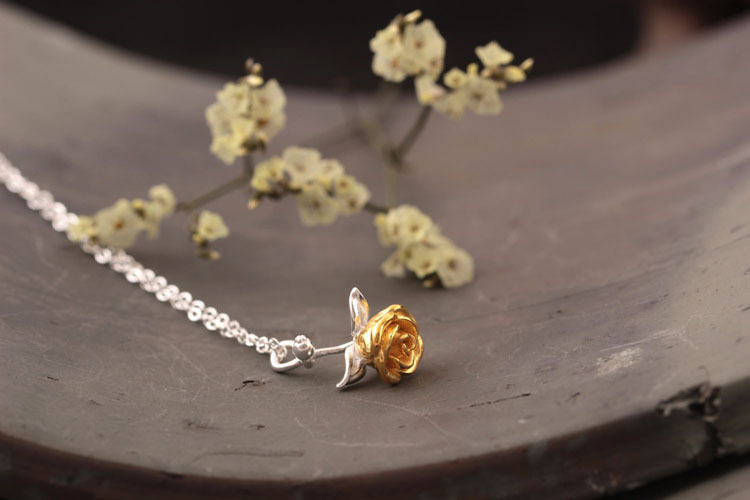 Sterling Silver Rose Necklace - 3 Colors 4