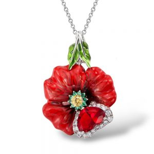 Red Necklace Flower Enamel