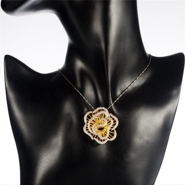 Rose Pendant Ring Earrings Sterling Silver Jewelry Set Crystals & Gold Color