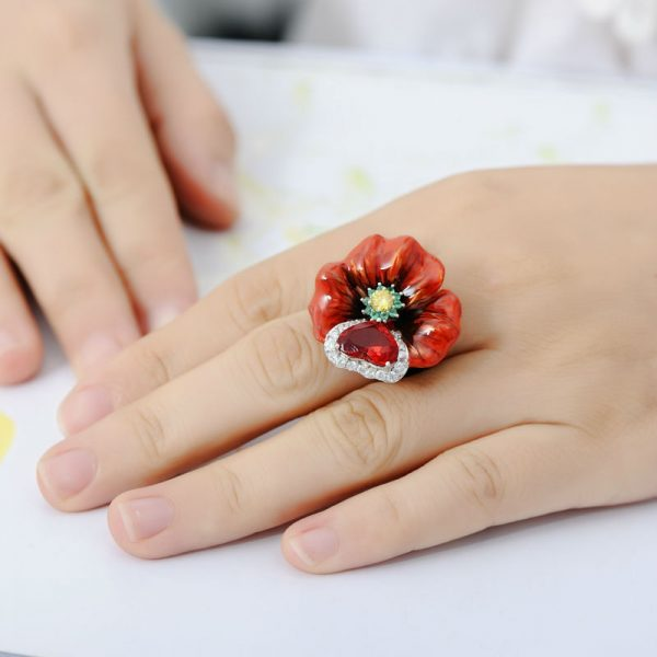 Red Ring With Big Enamel Flower in 100% Silver with Crystals 4