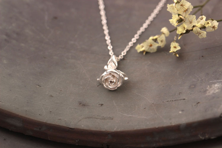 Sterling Silver Rose Necklace - 3 Colors 6