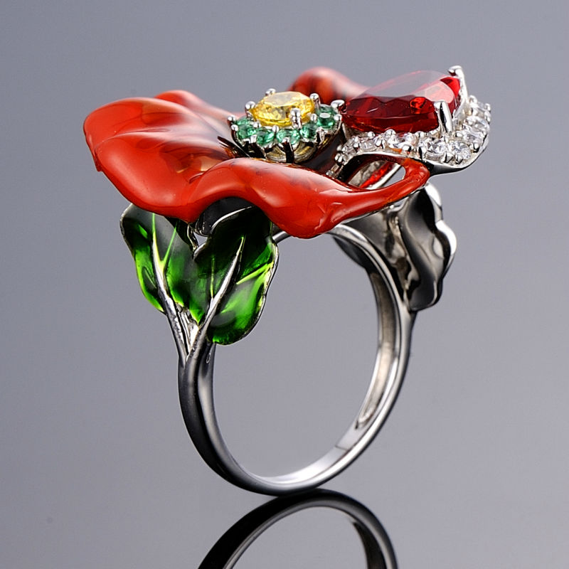Red Ring With Big Enamel Flower in 100% Silver with Crystals 2