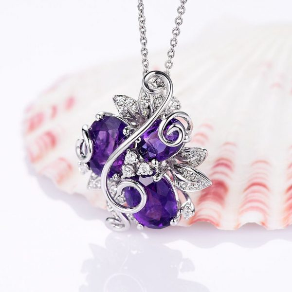 Purple Amethyst Flower Pendant Necklace on 925 Sterling Silver 5