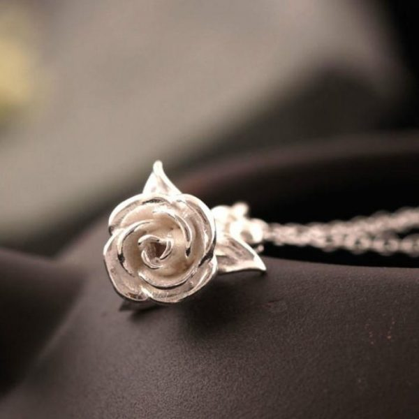 Sterling Silver Rose Necklace - 3 Colors 2