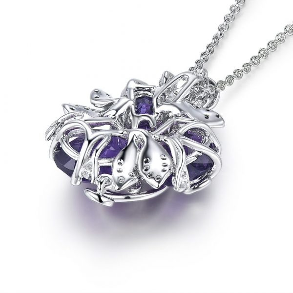 Purple Amethyst Flower Pendant Necklace on 925 Sterling Silver 3