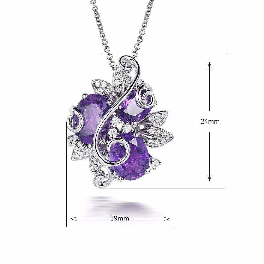 Amethyst Flower Pendant Necklace