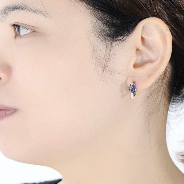 Tulip Flower Stud Earrings Blue CZ on Sterling Silver 5