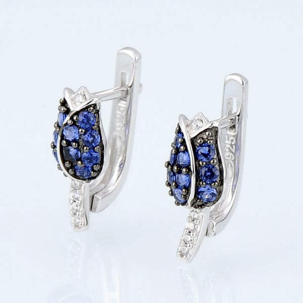 Tulip Flower Stud Earrings Blue CZ on Sterling Silver 2