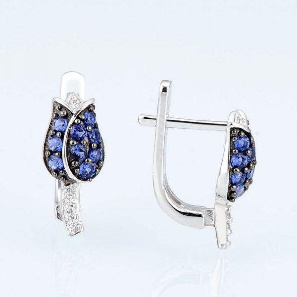 Tulip Flower Stud Earrings Blue CZ on Sterling Silver 4