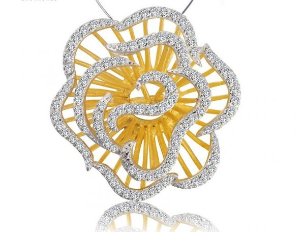 Rose Pendant Sterling Silver Jewelry Set Crystals Gold Color