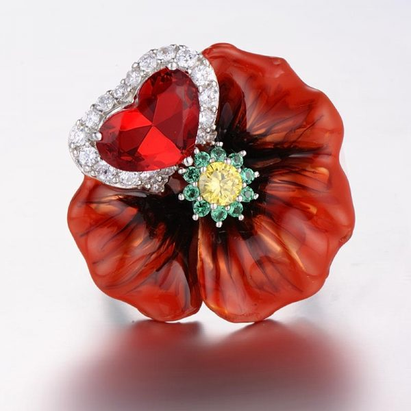 Red Ring With Big Enamel Flower in 100% Silver with Crystals 3