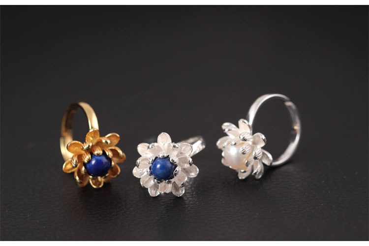 Sterling Silver Lotus Flower Ring - 3 Colors 1