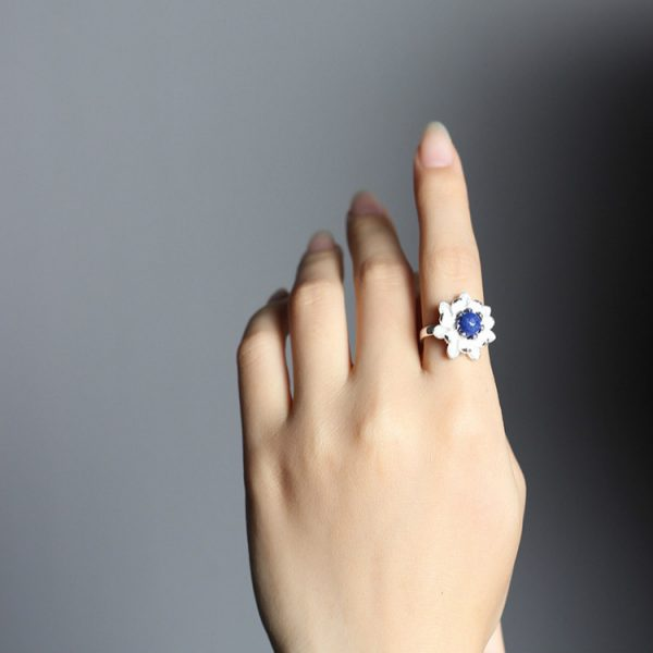 Sterling Silver Lotus Flower Ring - 3 Colors 5