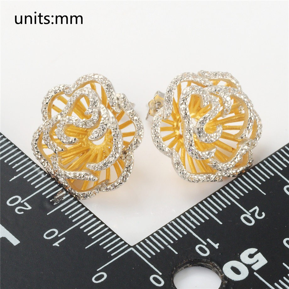 Rose Pendant Ring Earrings Sterling Silver Jewelry Set Crystals & Gold Color 4