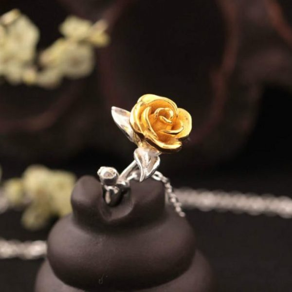 Sterling Silver Rose Necklace - 3 Colors