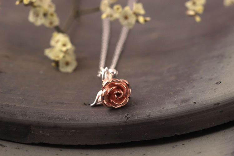 Sterling Silver Rose Necklace - 3 Colors 3