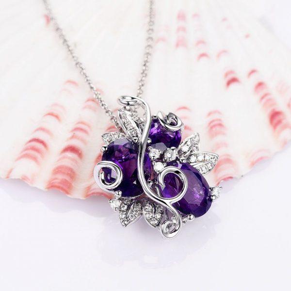 Purple Amethyst Flower Pendant Necklace on 925 Sterling Silver 4