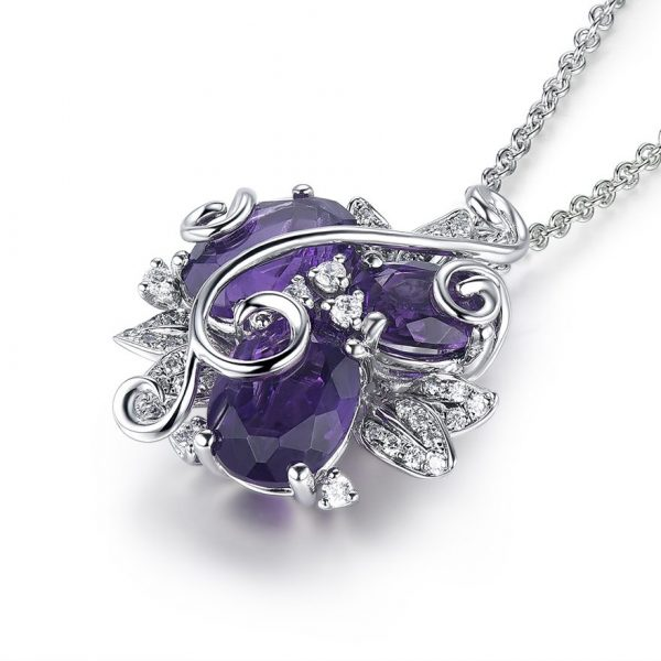 Purple Amethyst Flower Pendant Necklace on 925 Sterling Silver 1