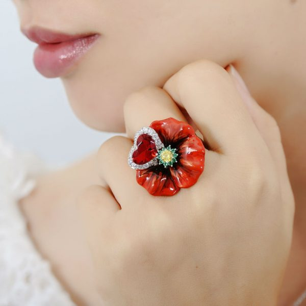 Red Ring With Big Enamel Flower in 100% Silver with Crystals 5