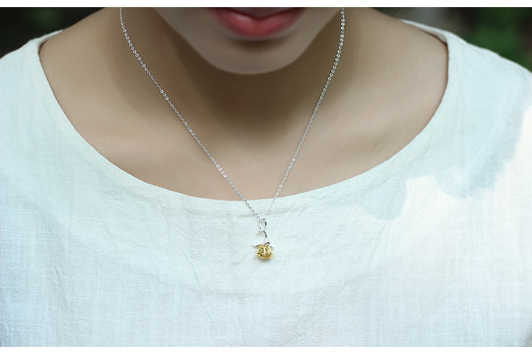 Sterling Silver Rose Necklace - 3 Colors 1