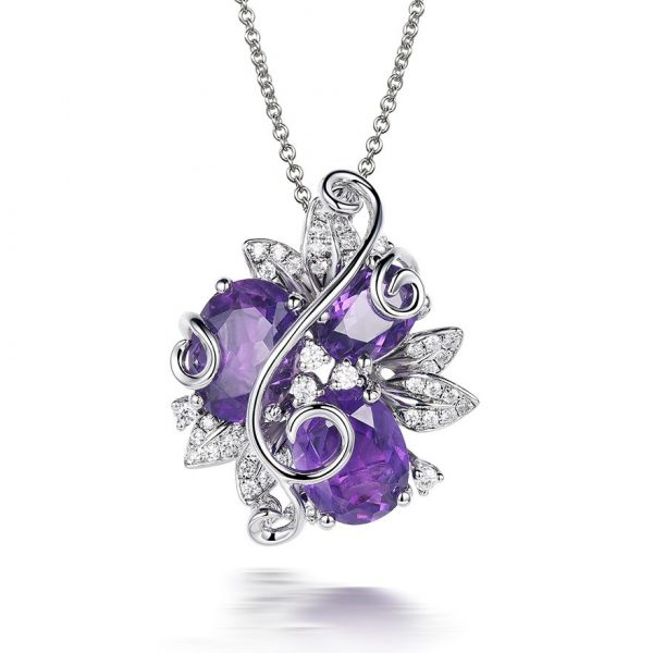 Purple Amethyst Flower Pendant Necklace on 925 Sterling Silver
