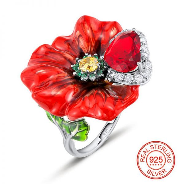 Big Red Ring Flower Enamel