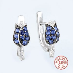 Tulip Flower Stud Earrings Blue CZ on Sterling Silver