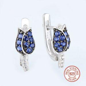 Tulip Flower Stud Earrings Blue CZ on Sterling Silver
